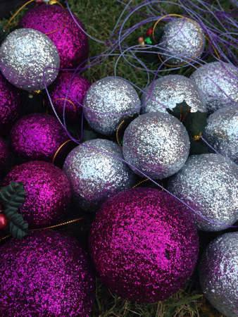 silver: Silver and purple christmas ball Stock Photo