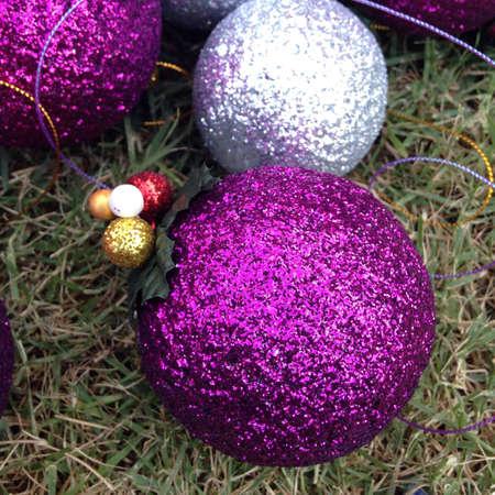 shiny: Silver and purple christmas ball Stock Photo