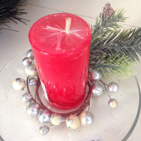 decoration: Red candle for decoration Stock Photo