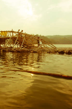 began: Bamboo bridge, which began to decay Stock Photo