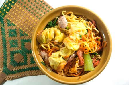 pork noodle. BBQ pork and dim Sum noodle bowl