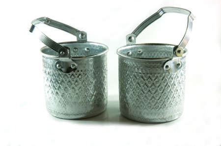 silver Metal Tiffin, Food Container On White Background