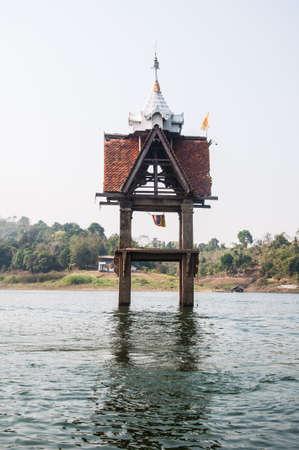leavings: Old Buddha in Ancient Temple, Sangklaburi Kanchanaburi ,Kanchanaburi, Thailand