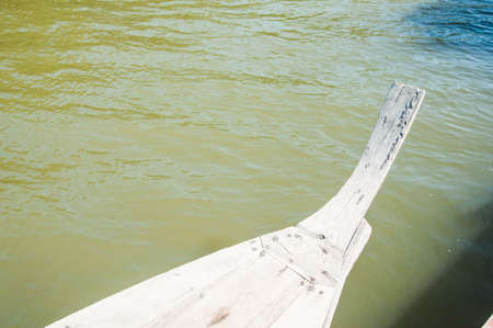long tailed boat: Head of wooden long tailed boat