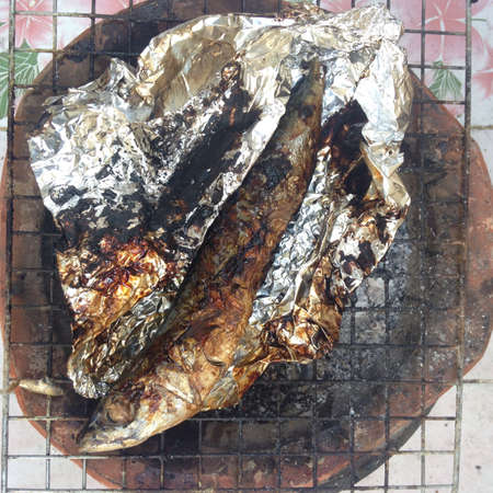 grill: Roasted saba fish on grill