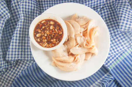 sweet course: Sweet fish sauce ready to serve with  Santol fruit Thai traditional dessert style Stock Photo