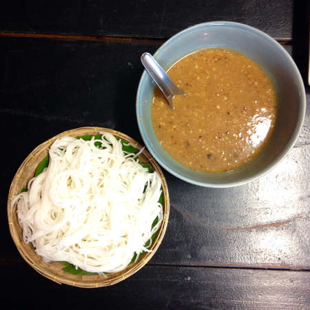 style: Boiled Thai rice vermicelli ,usually eaten with Nam Prik Thai style curries