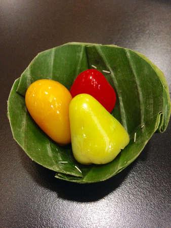 thai style: Thai style marzipan fruit on banana
