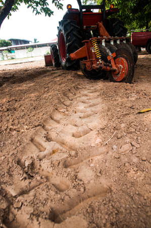 ploughing: Ploughing heavy tractor during cultivation agriculture works