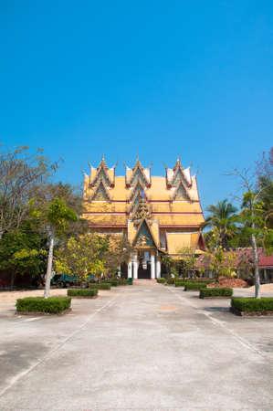 horozontal: One of the impressive buildings of Wat Wang Wiwekaram in Sangkhla Buri,Thailand Editorial