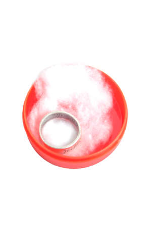 silver ring: Silver ring in red jewelery box