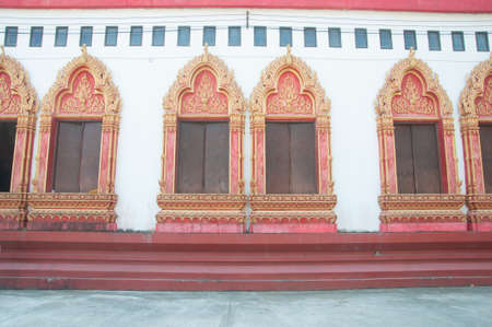 casement: old window in temple in Thailand