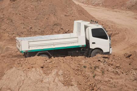 dumper truck: dumper truck at sand quarry
