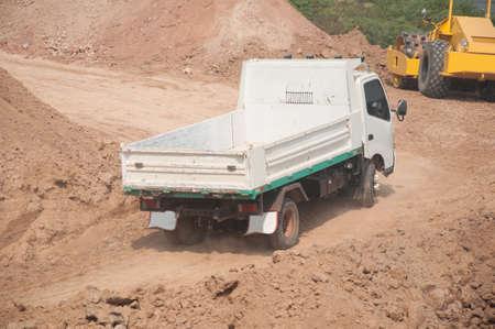 dumper: dumper truck at sand quarry