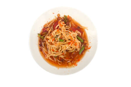 somtum: Famous Thai food, papaya salad or what we called Somtum in Thai on white Stock Photo