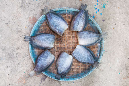 pectoralis: Trichogaster pectoralis, Dry fish out salty , fish thai food Stock Photo