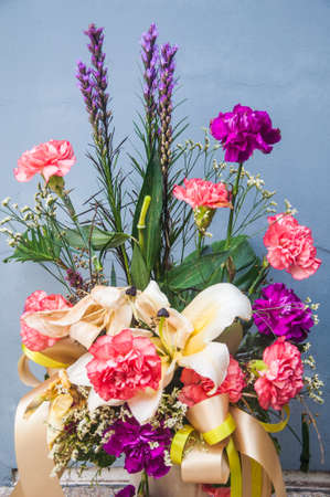 colorful flowers bouquet in vase