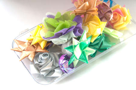 ordain: many ribbon folded into a flower for the sacred(ordination ,matriculation ,initiation) in Thailand Stock Photo