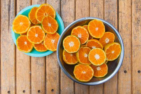 juicy: Sliced orange fruit for orange juicy Stock Photo