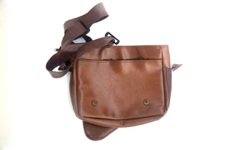 leather bag: Brown leather bag on white background
