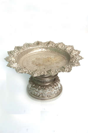 silver tray: silver tray with pedestal in isolated white background