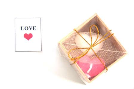 bougie coeur: petite bougie de coeur de la c�r�monie de mariage Banque d'images