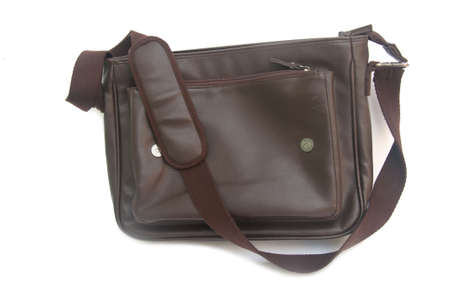 leather bag: New brown leather bag on white background