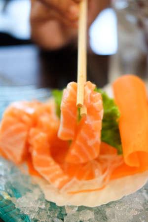 chop sticks: Sashimi with chop sticks Stock Photo