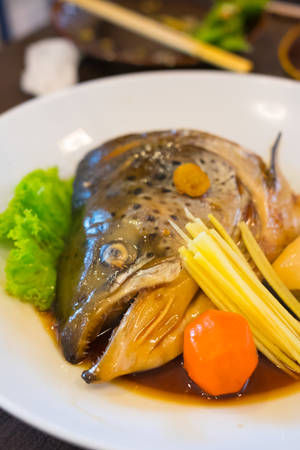 tekka: Salmon Kabutoni or steamed salmon head with soy sauce - japanese food style