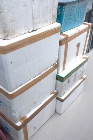 old many Styrofoam storage box Stock Photo