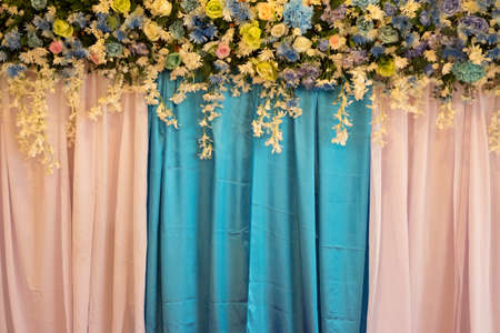 wedding backdrop: wedding backdrop with Beautiful flower Stock Photo