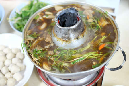 redtail: soup in pot, Hot and sour soup, Thai food
