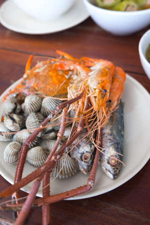 cockles: Sea food : Boiled crabs,Steamed cockles and shrimp