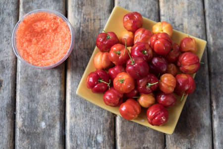myrtle green: The Barbados cherry or Thai Cherry with dip