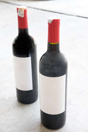 white zinfandel: Two red wine bottle, with real paper blank label