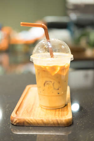 caffe: Iced coffee or caffe latte in takeaway cup