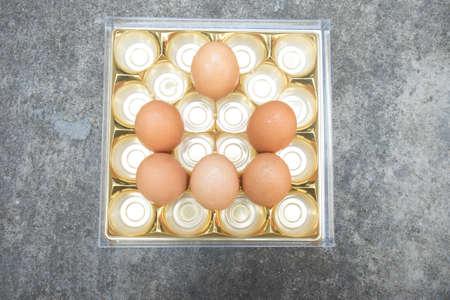 gallina con huevos: Huevos de gallina frescos de la granja de pollo de Brown Foto de archivo