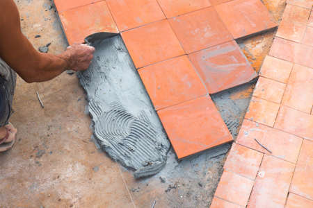foot path: floor tile for foot path installation. Outdoor construction site
