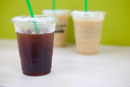 americano: iced americano with ice coffee background Stock Photo