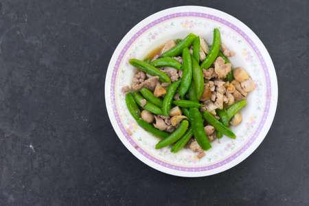 stir up: Close up, Stir fry sugar snap peas with pork