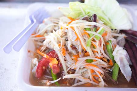 green papaya: Green papaya salad,Thai food Stock Photo