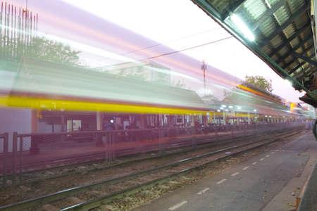 samsen: Samsen ,Thailand - Feburary 05, 2016: Thai Railways regional train on Track One at the Samsen Railway Station Editorial