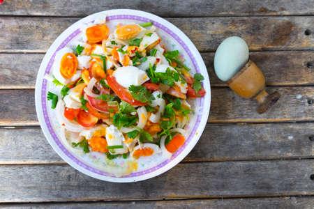 cleave: salted eggs salad on dish