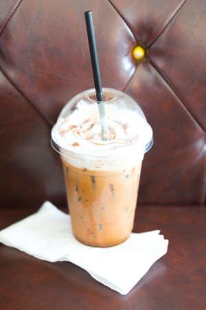 mocha: Iced mocha coffee in takeaway cup Stock Photo