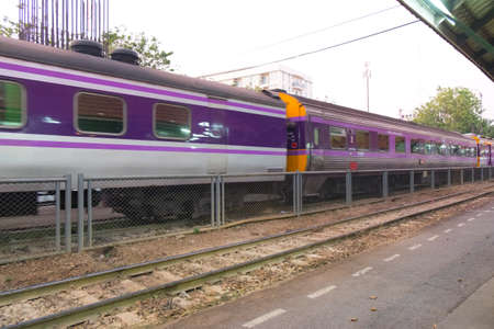 Samsen ,Thailand - February 05, 2016: Thai Railways regional train on Track One at the Samsen Railway Station