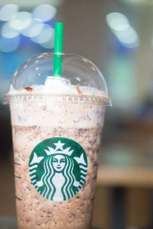 Samutprakarn, Thailand - May 21, 2016: Starbucks Frappuccinos are coffee drinks blended with chocolate and syrup. Starbucks Coffee is an American coffee chain with shops all over the world. Editorial