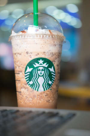 Samutprakarn, Thailand - May 21, 2016: A Java Chip Coffee Frappuccino Starbucks Coffee is an American coffee chain with shops all over the world.