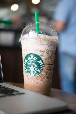 Samutprakarn, Thailand - May 21, 2016: Samutprakarn, Thailand - May 21, 2016: A Java Chip Coffee Frappuccino Starbucks Coffee is an American coffee chain with shops all over the world at Home Pro Village , Suvarnabhumi shopping mall