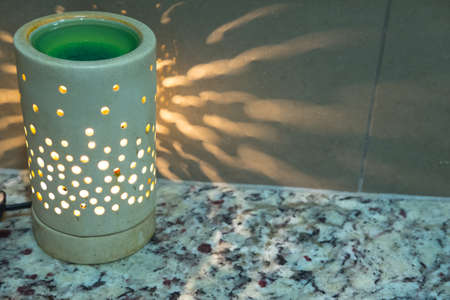 night table: Lamp on a night table