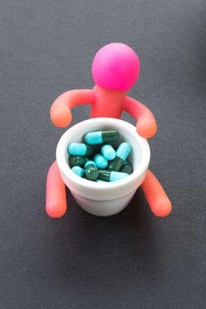 the antibiotic: pile of capsules,medicine antibiotic Stock Photo